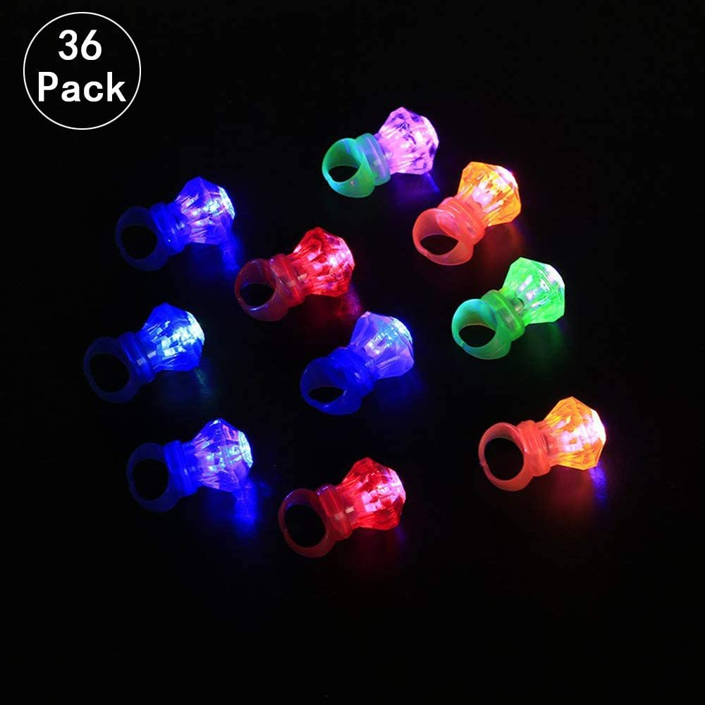 36 Pcs Anillo de dedo Intermitente Luz del Anillo del dedo LED Juguete Diamante Brillante Persona Soltera Concierto / Fiesta de cumpleaños / Boda / Bar Accesorios exclusivos(Mezcla de colores)
