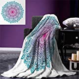 smallbeefly Mandala Digital Printing Blanket Round Floral Starry Pattern Soft Aqua Color Spiritual Meditation Theme Summer Quilt Comforter 80''x60'' Pink Blue White