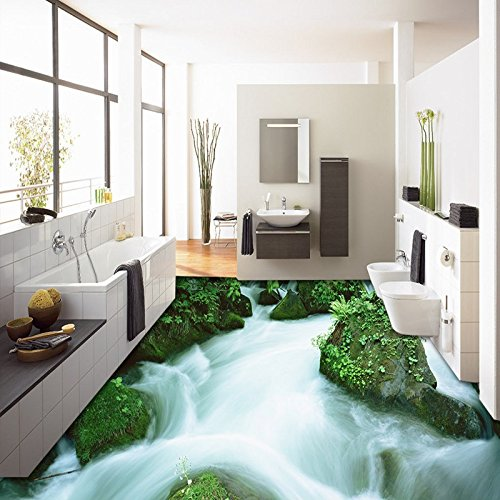LHDLily 3D Outdoor Mountain Streams Creek Landscape Ground Floor Wear Non-Slip Waterproof Bathroom Flooring Mural ()