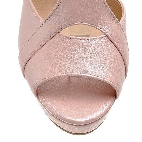AmoonyFashion Womens High-Heels Solid Buckle Peep-Toe Sandals Pink NsQSMt