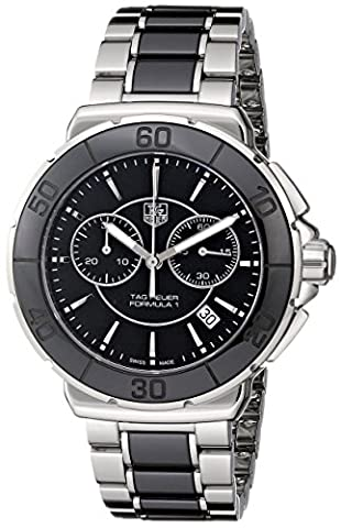 Tag Heuer Women's 'Formula 1' Stainless Steel Black Ceramic Chronograph Watch CAH1210.BA0862 (Tag Heuer Women Black)