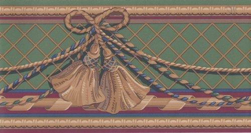 Green Gold Curtain Tassel Wallpaper Border (Decorator Tassels)