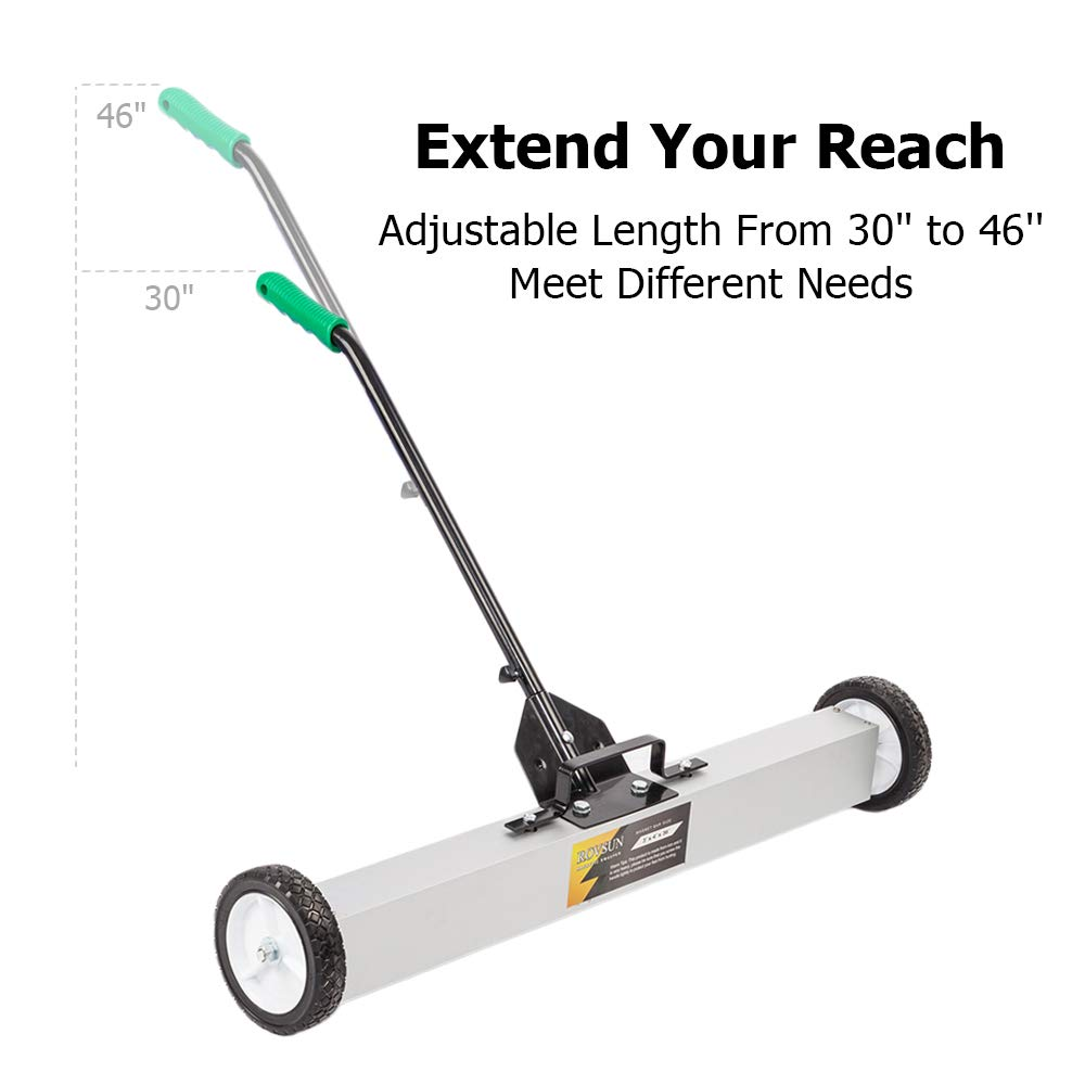 ROVSUN 24-Inch Rolling Magnetic Pick-Up Sweeper | 30-LBS Capacity, with Quick Release Latch & Adjustable Long Handle, for Nails Needles Screws Collection by ROVSUN (Image #5)