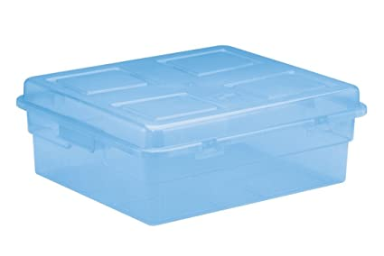 United Solutions TO0003 Blue Plastic Storage Box With Lid   Horizontal  Plastic Organizing Bin And Lid