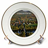 3dRose cp_80677_1 Beautiful Aerial View Of Connecticut River-Porcelain Plate, 8''