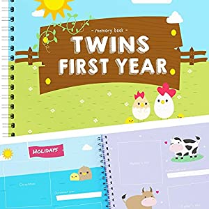 51C932JUdaL. SS300   Twins First Year Memory Book - A Gorgeous Baby Keepsake Journal to Cherish Your Twin's First Year Forever! Great Gift…   Twins & More Co
