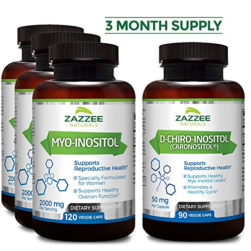 Save 10% | Myo-Inositol & D-Chiro-Inositol | 3-Month Supply (4 Bottles) | Discounted Bulk Price | Ideal 40:1 Ratio | Vegan | All Natural | Potent Fertility and Reproductive Support