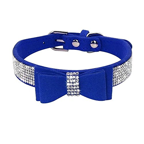 Beirui Rhinestone Bling Leather Dog & Cat Collar - Blue Flocking Sparkly Crystal Diamonds Studded - Cute Double Pink Bowknot - Perfect for Pet Show Wedding Walking,Medium Neck for - Blue Dog Collar Show