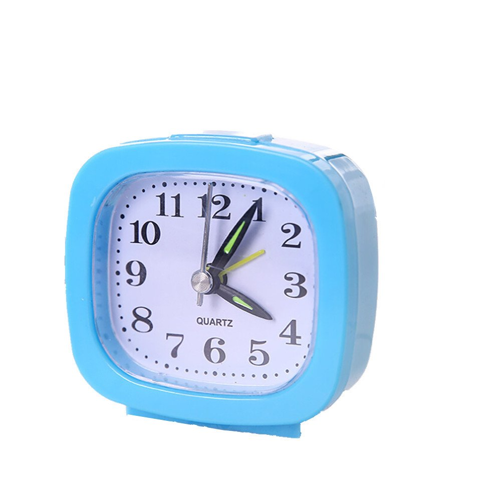 Hattfart Square Silent Analog Alarm Clock Non Ticking, Gentle Wake, Beep Sounds, Increasing Volume, Battery Operated Snooze (Sky Blue)