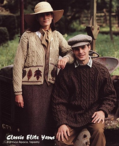 Classic Elite Yarns Knitting Pattern #613 - The English Gardeners - Women's Leaf Cardigan & Men's Cabled Raglan Pullover (Elite Cardigan)