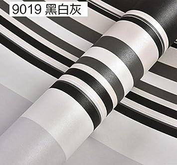 YUELA Schlafzimmer Wohnzimmer Moderne, Einfache Schwarz/Weiß Graue  Senkrechte Streifen Tapete Grün Verdickung