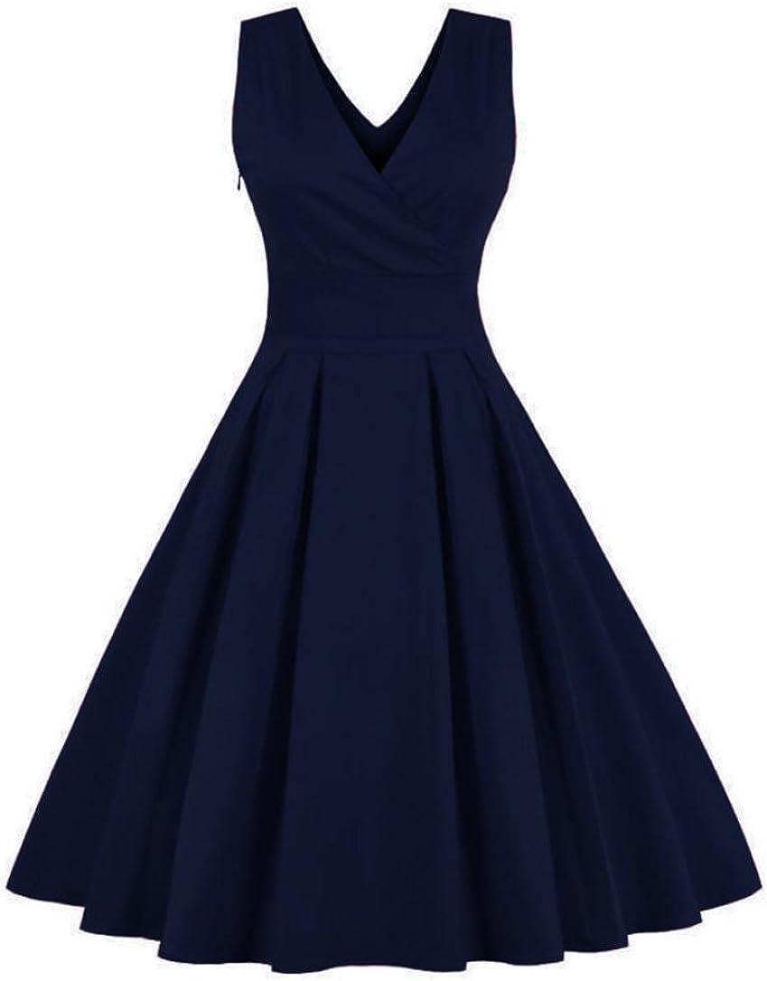 VEMOW Elegante Damen Frauen Tiefem V-Ausschnitt Vintage Kleid