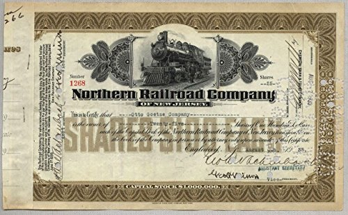 1930 Various Mint Marks BOLD ORIGINAL NORTHERN RAILROAD OF NEW JERSEY STOCK! PART OF ERIE RR! RAN TO NYACK NY Shares May Vary Choice Extra Fine