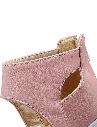 ShangYi Sandaletten für Damen Damenschuhe - Sandalen - Büro / Kleid / Lässig - Kunstleder - Blockabsatz - Plateau / Vorne offener Schuh - Schwarz / Rosa / Weiß Black