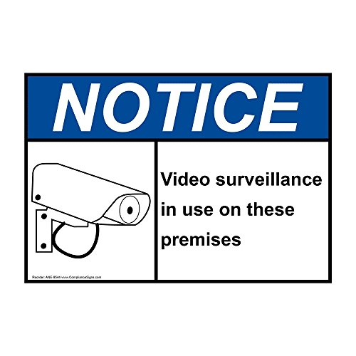 ComplianceSigns Vinyl ANSI NOTICE label, 5 x 3.5 in. with Security Camera info in English, 4-pack White
