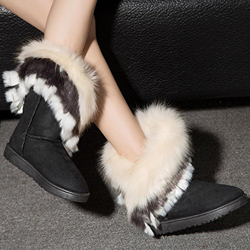 1 Faux Black Boots Mid Clode® Sole Cuff Calf Boot Snow Fox Womens Shoes Chunky Leather Fashion Winter Fur Ladies xTfUCTw8q