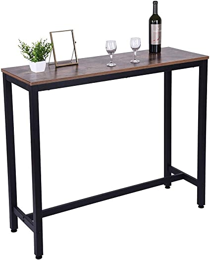 uublik Pub Vintage Simple Wood Table,Household Pub Table Counter Height Dining Table