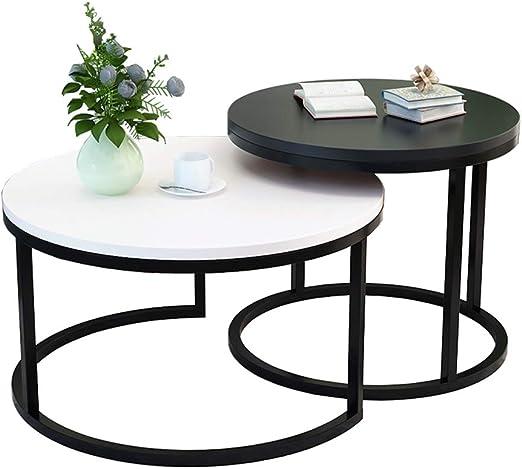 mesas nido salon de sala de estar Modernas redondas, Mesas de sofá para espacios pequeños, Marco de metal superior de madera, Pequeño (negro) + grande (blanco): Amazon.es: Hogar