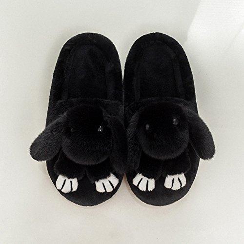 Antidérapant Slipper Noir Épais Intérieure Minetom Peluche F Coton Lapin Chaudes Fond Unisex Femmes Cartoon Chaussons Pantoufles Chaussons Hiver Hommes qanS1n7wB