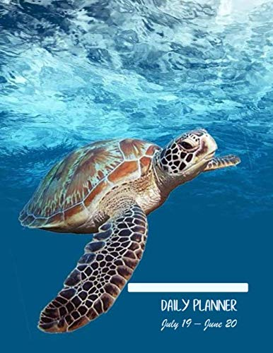 Daily planner July 19 - June 20: Large. With over 400 Pages. Daily Goals, To-dos, Assignments and Tasks. Includes Gratitude section, Meal planner, ... size) (Sea turtle underwater blue cover).