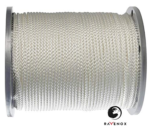 Ravenox Diamond Braid Nylon Rope | (5/16 in x 100 ft)(White) | Made in The USA | 100% Nylon Utility Cord | Berry Compliant | Camping, Boating, DIY, General Purpose Cordage | by The Foot & Diameter