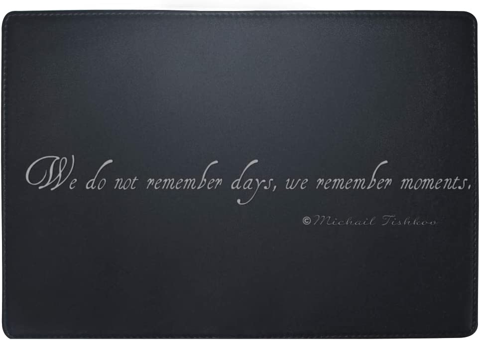Text Quote We Do Not Remember Days We Remember Moments Expression Leather Passport Holder Cover Case Travel One Pocket