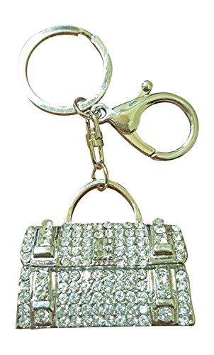 AM Landen Bling Bling Silver Handbag White Rhinestone Key Chain Key Rings Handbag Purse Charm Best Womens Keychain