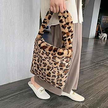 Women Faux Fur Tote Handbag Furry Shoulder Bag Fluffy Leopard Animal Print Bag