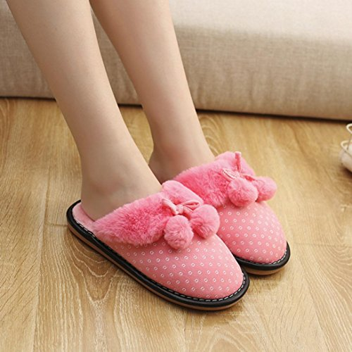 Wensltd Clearance! Women Winter Bowknot Indoor Warm Slippers Anti-Slip Soft Shoes Pink