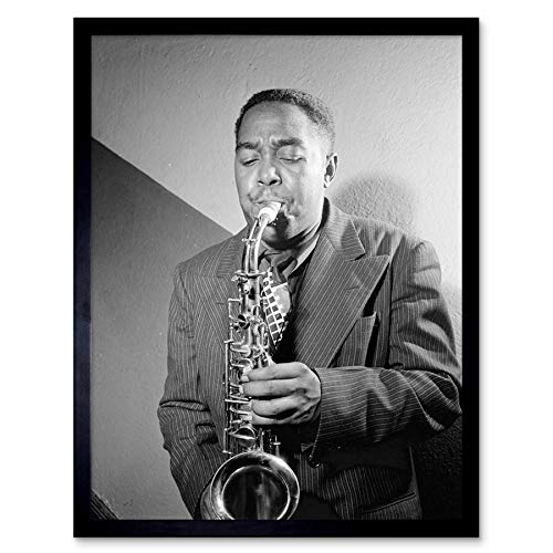 (Wee Blue Coo Vintage Portrait Sax Jazz Legend Bird Charlie Parker Art Print Framed Poster Wall Decor 12x16 inch)