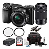 Sony ILCE6000L/B ILCE6000LB ILCE-6000LB Alpha A6000 Mirrorless Digital Camera with 16-50mm Lens (Black) + Sony SEL55210 Sel 55-210MM E-Mount Lens + Sony 32GB SDHC Class 10 UHS-1 Memory Card + NPFW50 Replacement Battery + Deluxe Accessory Kit