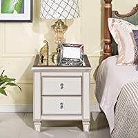 Magari Furniture Argento Mirrored 2-Drawer Bedside Nightstand, Small