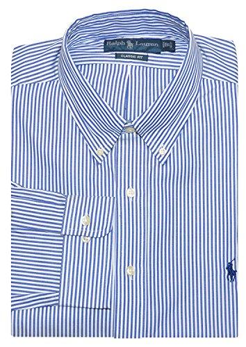 Polo Ralph Lauren Men's Classic Fit Button Down Dress Shirt Blue/White-15 32/33