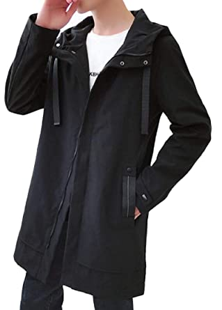 7d9287f65 Wofupowga Mens Loose Fit Hooded Overcoat Zipper Front Pure Color ...