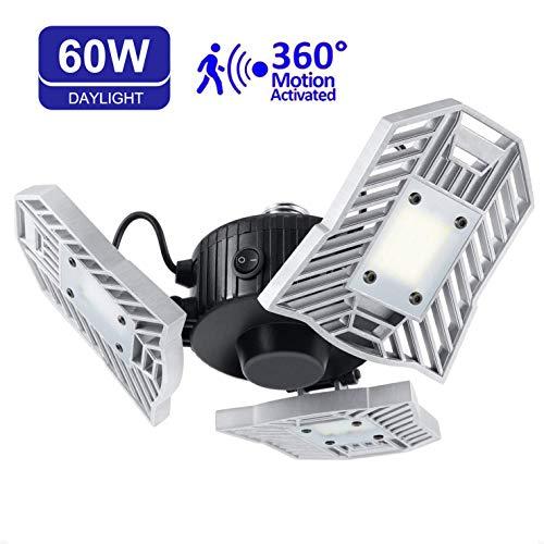 Price comparison product image LED Garage Lights,  60W 6000LM Motion Activated LED Garage Ceiling Light Bulbs E26 / E27 6000LM,  LED Shop Light for Workshop,  barn,  Warehouse Basement Cellar (60W Motion Detection)