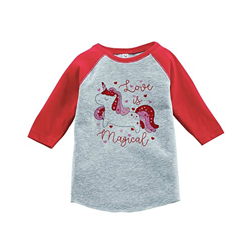7 ate 9 Apparel Girl's Valentine's Day Unicorn Red Baseball Tee Youth Small