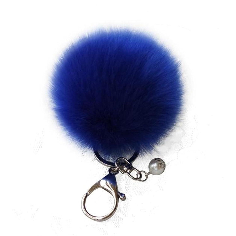 Keychains,Elaco Ball Keychain Cute Pompom Fur Ball Key Chain For Car(Blue)