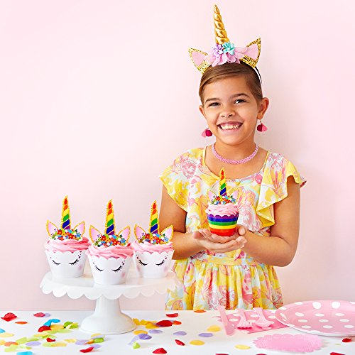 Rainbow Unicorn Cupcake Toppers and Wrappers - Girl's Birthday Party Supplies and Baby Shower, Rainbow Unicorn Cake Decoration - Double Sided - Set of 24 by Fiesta! Fiesta! (Image #5)