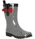 Capelli New York Ladies Chevron Printed Mid- Calf Rain Boot Black Combo 9