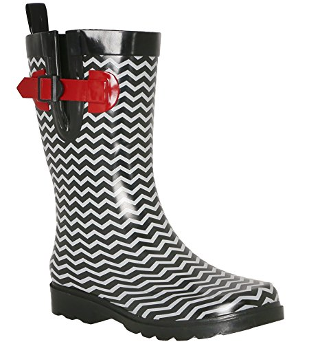 New Red Ladies York Two Calf Rain Rubber Mid Capelli Black Tone Boot dRwUnHdq