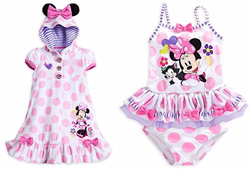 (Disney Store Minnie Mouse Pink Swim Set: 2 pc. Swimsuit & Cover Up Size M 7 - 8)