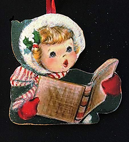 Girl Singing Carols Ornament Handcrafted Wooden Christmas, Green Wool Coat 1950s Christmas Card Red Mittens Striped Scarf Sunday School Gift
