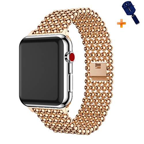 Cywulin Stainless Steel Metal Bands Loop Compatible iWatch 42mm 44mm Apple Watch Series 4, Series 3, Series 2, Series 1 Sports Edition, Fashion Replacement Strap Link Bracelet (42mm/44mm, Rose Gold) ()