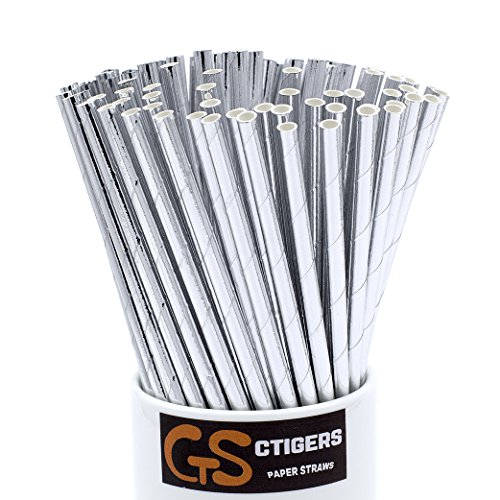 (Metallic Silver Drinking Paper Straws for Valentine's Day Wedding Party Biodegradable Straw Box of 100)