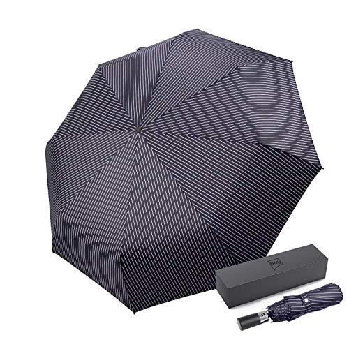 - TF Automatic Compact Umbrella, Folding Umbrella Travel, Windproof, Fast Dry (Stripe Black)