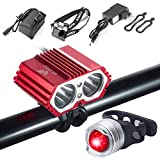 S SUNINESS Bike Lamp Set Super Bright 5000 Lumens 4 Modes Rechargeable Waterproof Durable Bicycle Front LED Light and Free Taillight with Battery Pack for Road Cycling Safety Flashlight