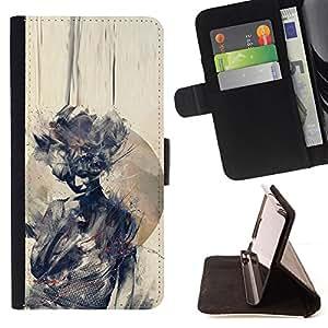 """For Motorola Moto E ( 2nd Generation ),S-type Acuarela Mujer Significado Profundo"""" - Dibujo PU billetera de cuero Funda Case Caso de la piel de la bolsa protectora"""