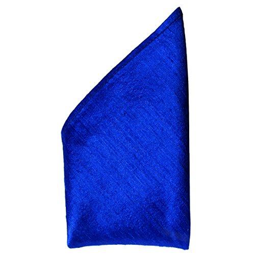 - Royal Blue Dupioni Silk Pocket Square - Full-Sized 16