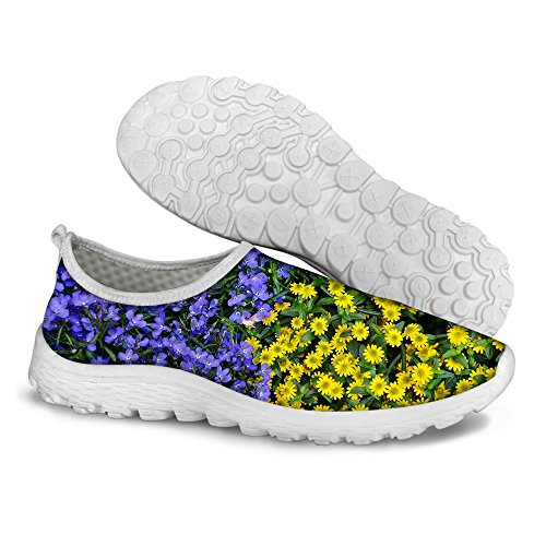 U Mesh Running Casual Sweet DESIGNS Floral FOR Pattern Blue Walking Women's Comfort Shoes Yellow d1H0Bqnxw
