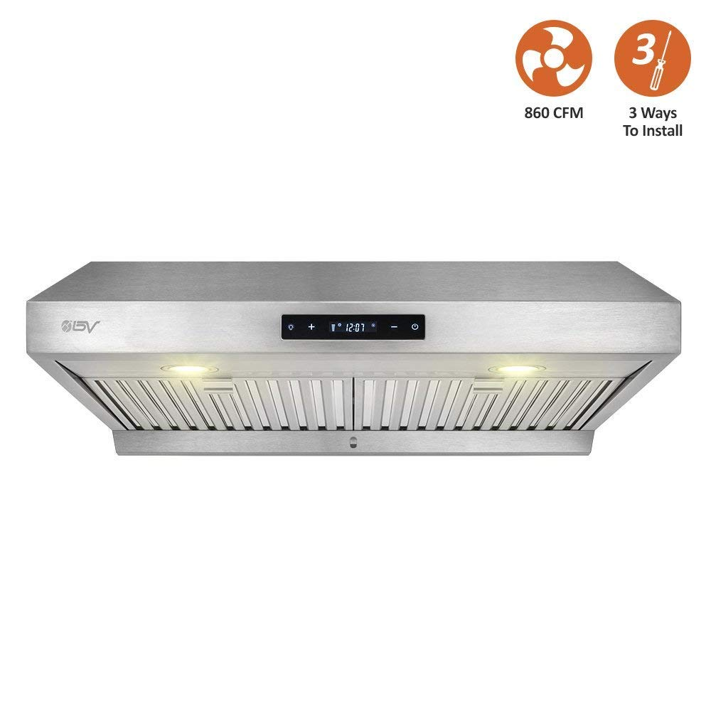 BV Range Hood - 30 Inch 860 CFM Touch Screen Under Cabinet Stainless Steel Kitchen Range Hoods, Dishwasher Safe Baffle Filters w/LED Lights, 3 Way Installation, Ducted Kitchen Exhaust Fan Hood